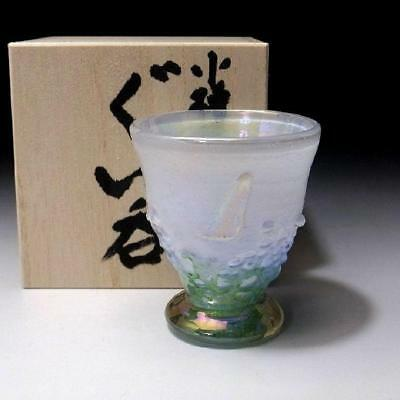 QJ9: Japanese Hand-blown Glass Sake cup of Otaru Glass Ware, Light blue