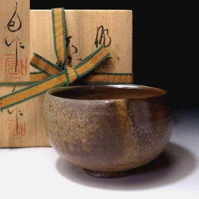 YJ2: Vintage Japanese Pottery Tea bowl, Bizen ware with Signed wooden box