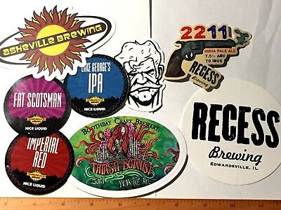 (15) MICRO BREWERY BEER STICKERS Lot Recess Asheville Recess Kinsmen New Holland