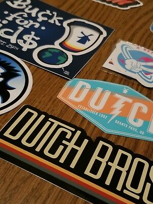 Lot of 7 different Dutch Bros stickers. Coffee