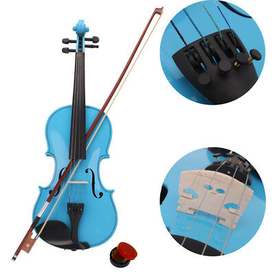 Sky Blue Basswood 4/4 Acoustic Violin Set w/ Case Bow Rosin High Quality
