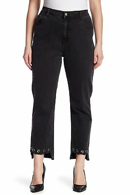 Glamorous NEW Black Women's Size 18X27 Plus Stretch Grommet Straight Jeans #711
