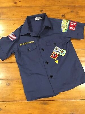 Vintage Boy Scouts Of America Button Down Shirt Youth Medium 8 With Patches