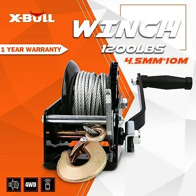 X-BULL Hand Winch 1200LBS Cable Mount 10M  Steel Rope Winch Boat Trailer Car