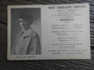 C 1930 's New Thought Centre Grace M Aguilar Sydney advertising card temple