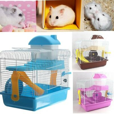 Hamster Rat Animal Large Cage Mice Mouse Home House w/ Slide Feeding Spinning