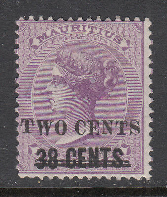 """MAURITIUS 1891 """"TWO CENTS"""" on """"38 CENTS"""" on QV 9d Pale Violet SG 120 mh CV £16"""