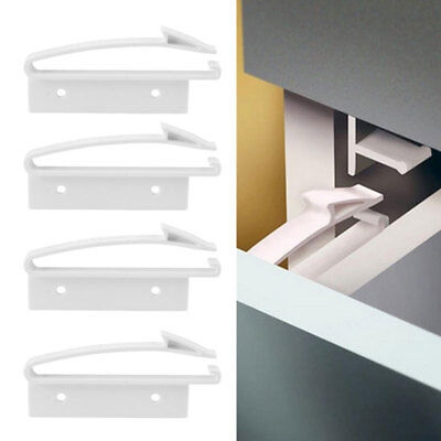 Safety Lock Wide Grip Latches 4 Pack Drawer Child Proof Lock Baby Cabinet Locks