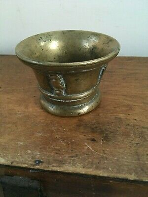 LOVELY DECORATIVE 18th CENTURY ? BRASS SPICE MORTAR 3 inches