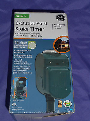 Ge 6 Outlet 15 Amp Yard Stake 24 Hour Mechanical Timer Model 15107 For Lighting
