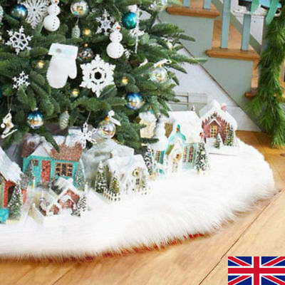 80cm Christmas Snow Plush Tree Skirt Base Floor Cover Xmas Party Home Decor