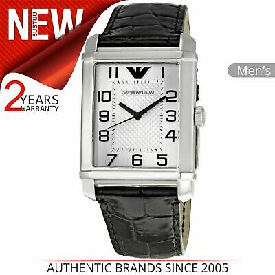 Emporio Armani Mens Watch AR0487¦Stainless Steel Silver Dial¦Black Leather Strap