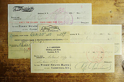 3 diff. styles old New York bank checks 1900's-30's used