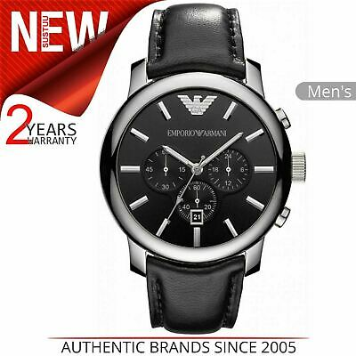 Emporio Armani Classic Men's Watch AR0431│Chronograph Black Dial│Leather Strap│