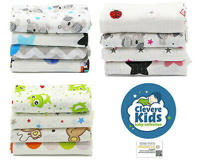 Clevere Kids  baby-collection Mulltücher 4er Pack Öko-Tex Baumwolle