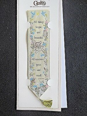 Cash's Silk BOOKMARK Stevengraph All Things Bright & Beautiful Hymn Owl Squirrel