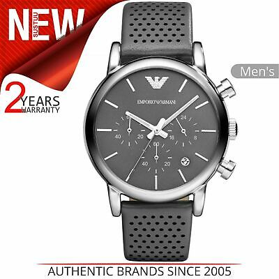 Emporio Armani Classic Men's Watch¦Chronograph Grey Dial¦Leather Strap¦AR1735