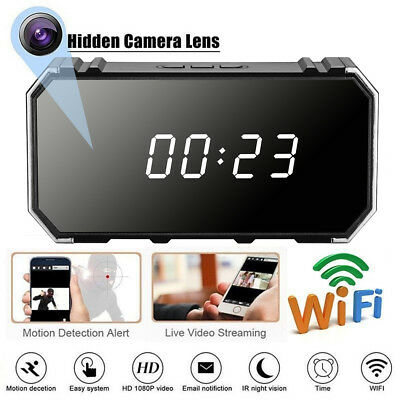 4K Hidden Camera 1080P WIFI HD Mirror Wireless Security Alarm Clock Night Vision