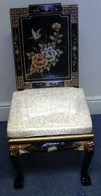 Reproduction hand painted Chinese chair - black lacquer with imitation mounts