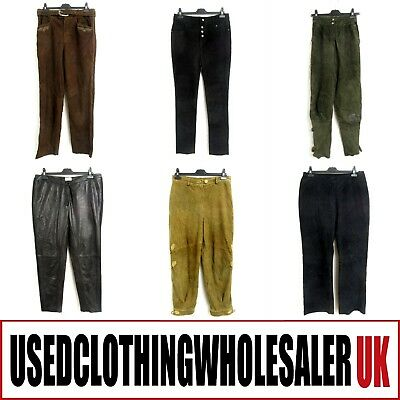 15 Women's Vintage Leather & Suede Trousers Joblot Wholesale Clothing