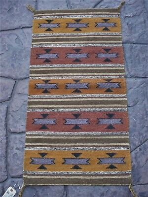 """Genuine VINTAGE NAVAJO INDIAN RUG WALL HANGING ~ 18"""" by 37"""" ~ Earth Tone Colors"""