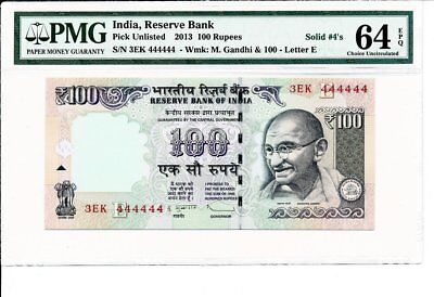 Reserve Bank India  100 Rupees 2013 Solid S/No 444444 PMG  64EPQ