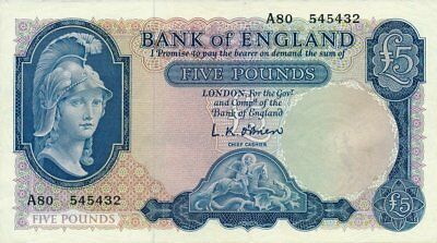 Bank of England Great Britain  5 Pounds 1960-62   AU - Unc