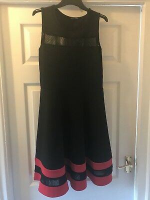 Ladies Sheer Panel Black Dress With Red Trim Size 10 By Malabay