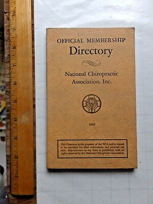 1955 Official Membership Directory - National Chiropractic Association. 160 page