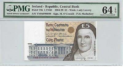 Ireland - Republic, Central Bank - 5 pounds, 1998. Solid S/No.999999. PMG 64EPQ.