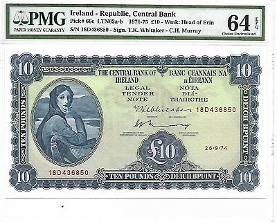 Ireland - Republic, Central Bank - 10 pounds, 1974. PMG 64EPQ. Large Note.
