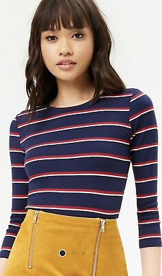 1c60a3a1725340 FOREVER 21 NAVY RED STRIPED LETTUCE EDGE CROP TOP Size SMALL -  7.75 ...