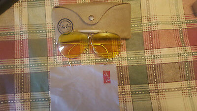 Bausch & Lomb Shooting Glasses Ray Ban, Yellow / Amber  Sunglasses, Case
