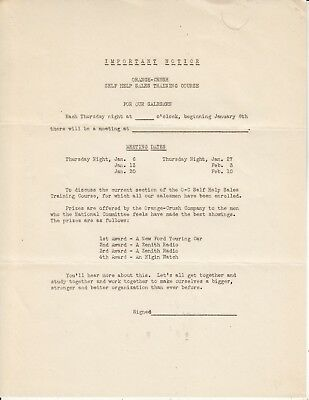 Orange-Crush Company Important Notice Self Help Sales Training Course  1920S
