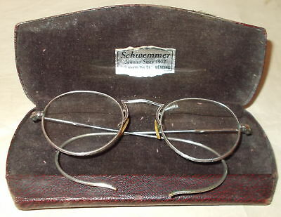 Antique Round Eyeglasses-Shuron-1/10 12 Kgf-Silver Color,wrap Around Ears Design