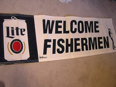 New! Nice Miller Lite Light Welcome Fishermen Fishing Beer Banner Sign Boat Pole