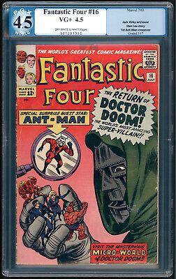 """FANTASTIC FOUR #16 """"1963"""" ANT-MAN and DR. DOOM! Art by Jack Kirby. PGX VG+ 4.5"""