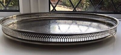 VINTAGE Silver Plated Large Oval Chased Footed Drinks Gallery Tray Pinders Uk