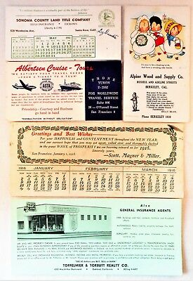 Lot of 5 Vintage Advertising Ink Blotters California Realty Title Co Cruise Wood