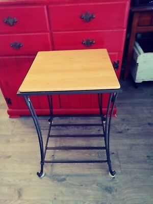 Longaberger Wrought Iron  Collection Side Table Maple Wood Top RARE!
