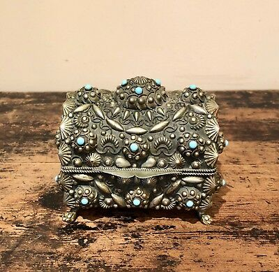 Antique Metal Vintage Trinket Box Shell Design With Turquoise Stones