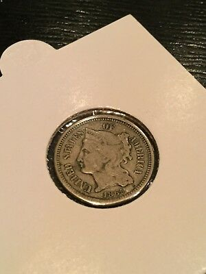 1865 Nickel 3 Cent Piece F