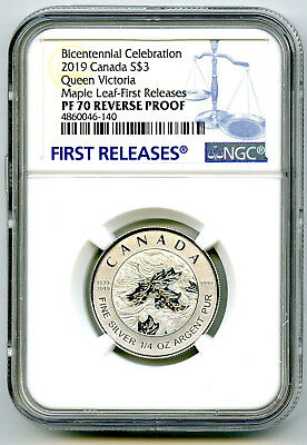 2019 $3 Canada 1/4 Oz Silver Maple Leaf Queen Victoria Ngc Pf70 Reverse Proof Fr