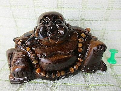 alter HAPPY BUDDHA Tigerauge & eingefasster Halskette Handarbeit 8cm China *1960