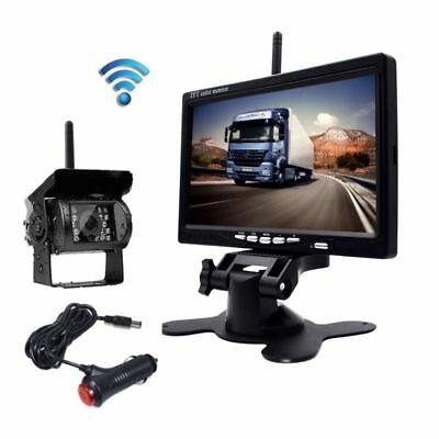 "7"" Monitor + Wireless Night Vision Rear View Backup Camera for RV Truck Van Kit"