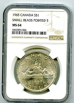 1965 $1 Canada Silver Dollar Ngc Ms64 Small Beads Pointed 5 Voyageur - Ms Unc
