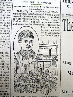 1890 newspaper w portrait NELLY BLY ends her trip AROUND THE WORLD in 80 DAYS
