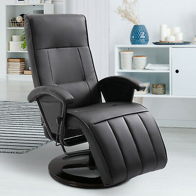 Faux Leather Lounge Armchair Recliner Sofa Chair Adjustable Black