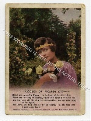 (Lf8338-513) Bamforth Mini Song Card, Roses of Picardy, #2, Unused G-VG