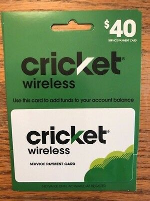Cricket Wireless $40 Refill Card New Shipped With Tracking Number